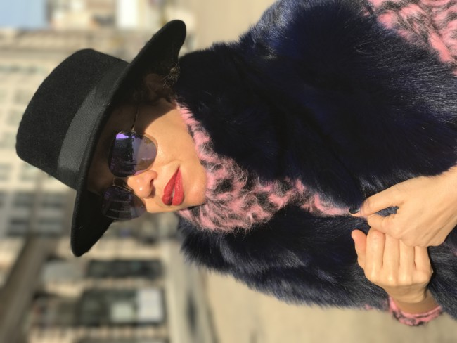 Winter street style with fur, knits, hats and red lips | www.jackieunfiltered.com